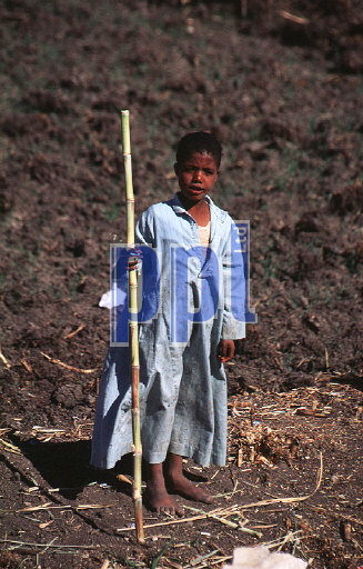 Small Egyptian boy in traditional dress West Bank of Luxor Egypt