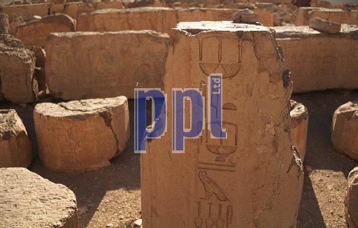 Hieroglyphic inscriptions at Temple of Hatshpsut  Luxor Egypt