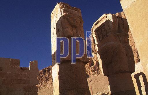 Hathor columns in the Temple of Hatshepsut  Luxor Egypt