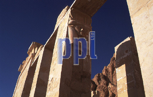Hathor columns in the Temple of Hatshepsut at Luxor Egypt