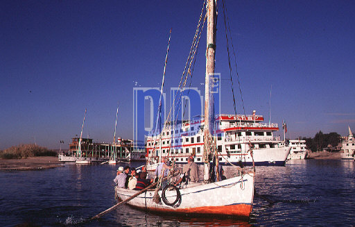Variety of boats which use the rier Nile Egypt
