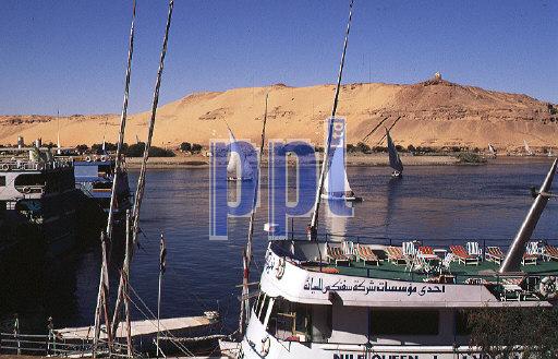 Cruise boats & feluccsas on the Nile Aswan Egypt