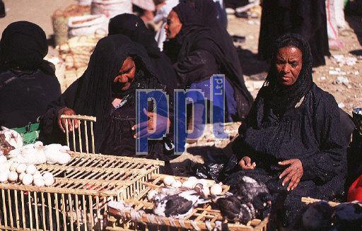 Traditional Egyptian women at street bazaar Aswan Egypt