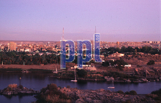 River Nile at sunset Aswan Egypt
