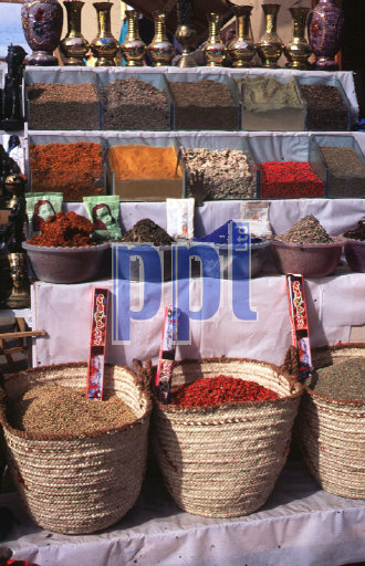 Spices for sale at street bazaar Aswan Egypt
