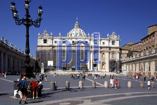 St Peter Square and the Basilica of St Peter The Vatican Rome Italy