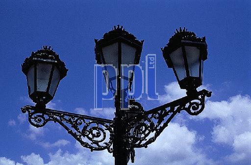 Traditional ornate street lamps, Rhonda, Spain